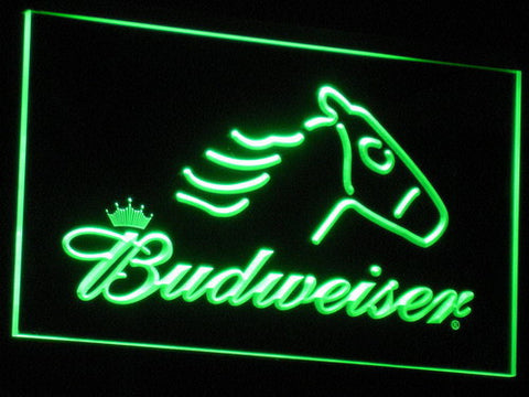 Image of Budweiser Horse LED Neon Sign - Green - SafeSpecial