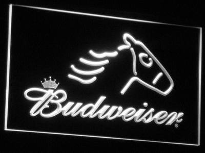 Budweiser Horse LED Neon Sign - White - SafeSpecial