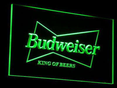 Budweiser King of Beers LED Neon Sign - Green - SafeSpecial