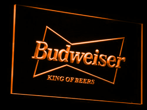 Budweiser King of Beers LED Neon Sign - Orange - SafeSpecial