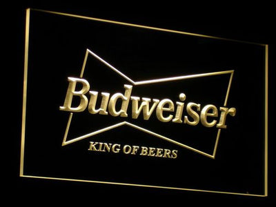 Budweiser King of Beers LED Neon Sign - Yellow - SafeSpecial