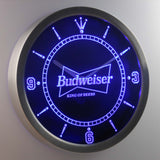 Budweiser King of Beers LED Neon Wall Clock - Blue - SafeSpecial