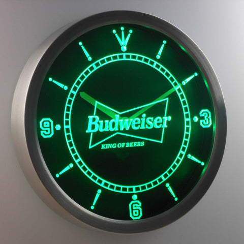 Budweiser King of Beers LED Neon Wall Clock - Green - SafeSpecial