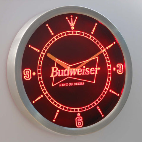 Budweiser King of Beers LED Neon Wall Clock - Red - SafeSpecial