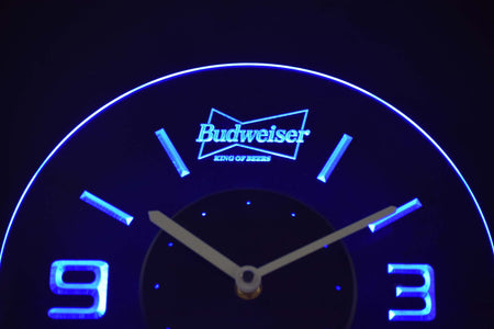 Budweiser King of Beers Modern LED Neon Wall Clock - Blue - SafeSpecial