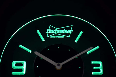 Budweiser King of Beers Modern LED Neon Wall Clock - Green - SafeSpecial