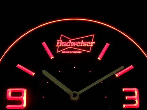 Image of Budweiser King of Beers Modern LED Neon Wall Clock - Red - SafeSpecial