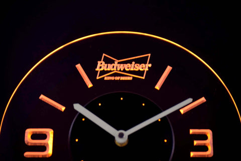 Image of Budweiser King of Beers Modern LED Neon Wall Clock - Yellow - SafeSpecial