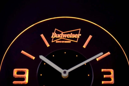 Budweiser King of Beers Modern LED Neon Wall Clock - Yellow - SafeSpecial
