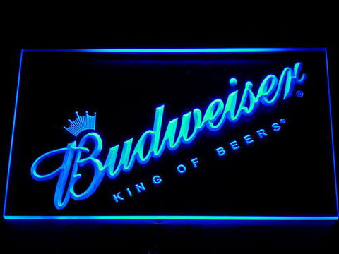 Budweiser King of Beers Slanted LED Neon Sign - Blue - SafeSpecial