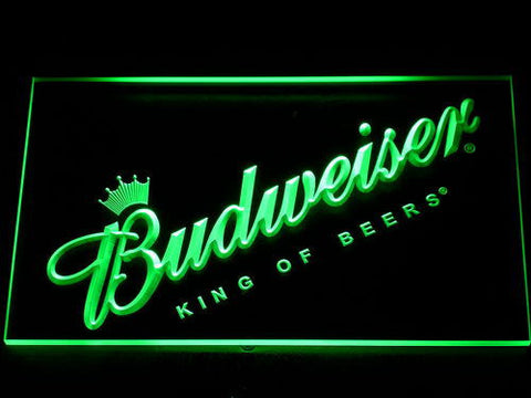 Budweiser King of Beers Slanted LED Neon Sign - Green - SafeSpecial