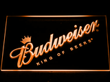 Budweiser King of Beers Slanted LED Neon Sign - Orange - SafeSpecial