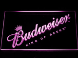 Budweiser King of Beers Slanted LED Neon Sign - Purple - SafeSpecial