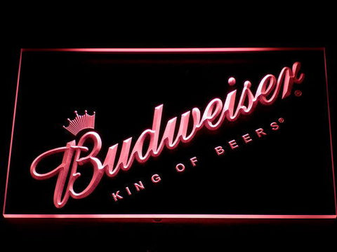 Budweiser King of Beers Slanted LED Neon Sign - Red - SafeSpecial