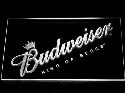 Budweiser King of Beers Slanted LED Neon Sign - White - SafeSpecial