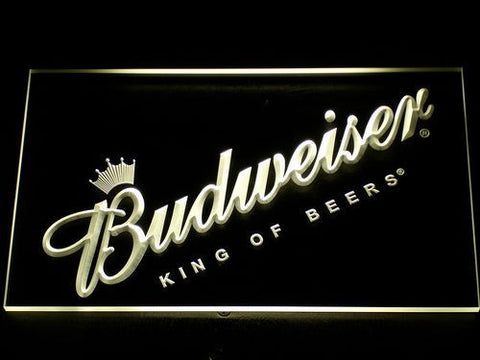 Budweiser King of Beers Slanted LED Neon Sign - Yellow - SafeSpecial