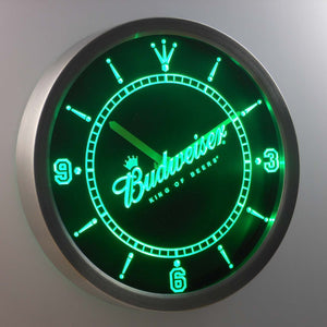 Budweiser King of Beers Slanted LED Neon Wall Clock - Green - SafeSpecial