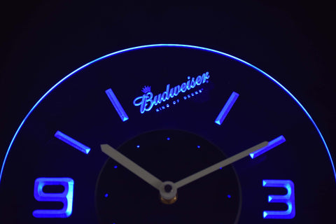 Image of Budweiser King of Beers Slanted Modern LED Neon Wall Clock - Blue - SafeSpecial