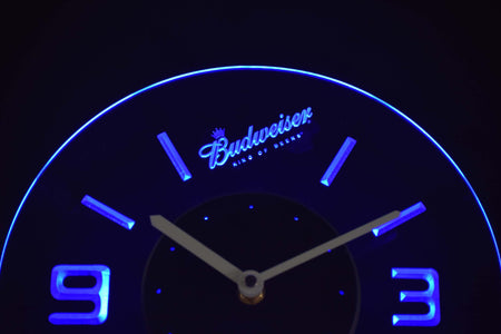 Budweiser King of Beers Slanted Modern LED Neon Wall Clock - Blue - SafeSpecial