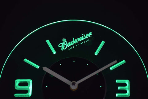 Image of Budweiser King of Beers Slanted Modern LED Neon Wall Clock - Green - SafeSpecial