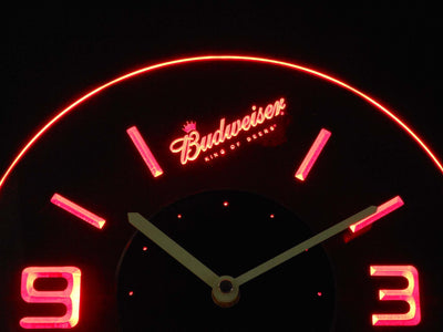Budweiser King of Beers Slanted Modern LED Neon Wall Clock - Red - SafeSpecial