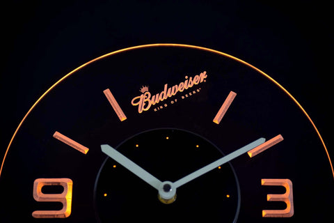 Image of Budweiser King of Beers Slanted Modern LED Neon Wall Clock - Yellow - SafeSpecial