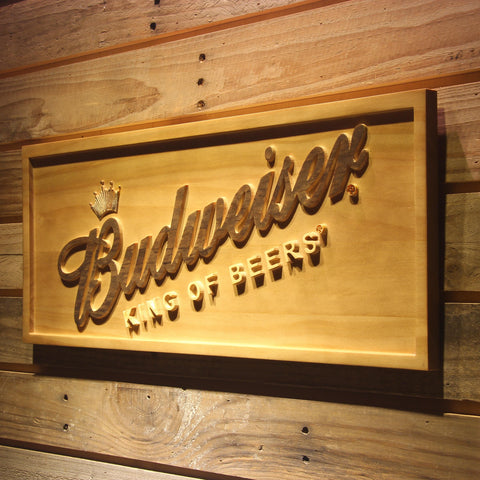 Budweiser King of Beers Slanted Wooden Sign - - SafeSpecial