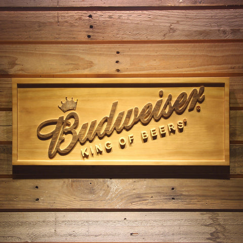 Budweiser King of Beers Slanted Wooden Sign - Small - SafeSpecial