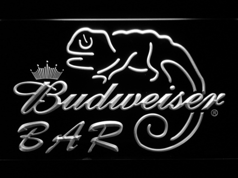 Budweiser Lizard Bar LED Neon Sign - White - SafeSpecial