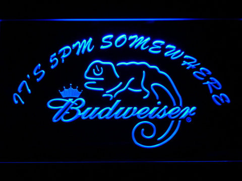 Image of Budweiser Lizard It's 5pm Somewhere LED Neon Sign - Blue - SafeSpecial