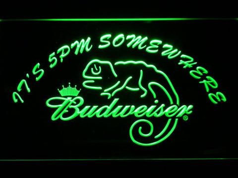 Image of Budweiser Lizard It's 5pm Somewhere LED Neon Sign - Green - SafeSpecial