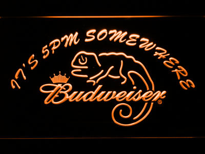 Budweiser Lizard It's 5pm Somewhere LED Neon Sign - Orange - SafeSpecial