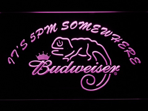 Image of Budweiser Lizard It's 5pm Somewhere LED Neon Sign - Purple - SafeSpecial