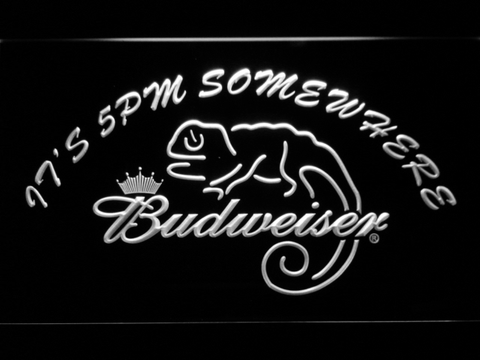 Image of Budweiser Lizard It's 5pm Somewhere LED Neon Sign - White - SafeSpecial