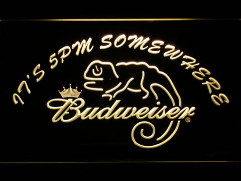 Image of Budweiser Lizard It's 5pm Somewhere LED Neon Sign - Yellow - SafeSpecial