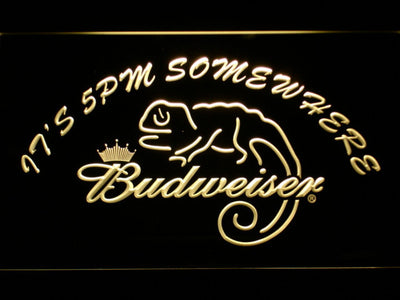 Budweiser Lizard It's 5pm Somewhere LED Neon Sign - Yellow - SafeSpecial