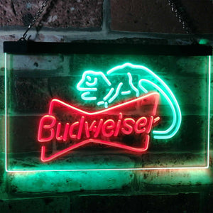 Budweiser Lizard Neon-Like LED Sign - Dual Color - Green and Red - SafeSpecial