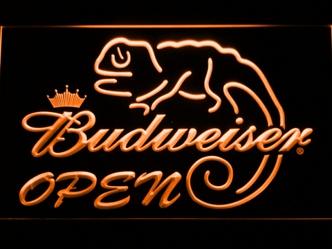 Budweiser Lizard Open LED Neon Sign - Orange - SafeSpecial