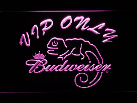 Budweiser Lizard VIP Only LED Neon Sign - Purple - SafeSpecial
