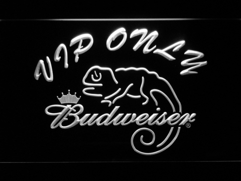 Budweiser Lizard VIP Only LED Neon Sign - White - SafeSpecial