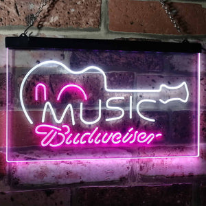Budweiser Music Neon-Like LED Sign - Dual Color - White and Purple - SafeSpecial