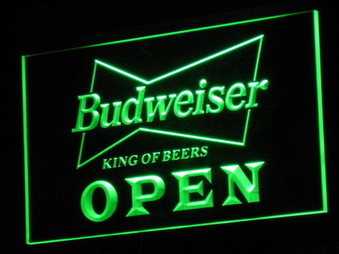 Budweiser Open LED Neon Sign - Green - SafeSpecial