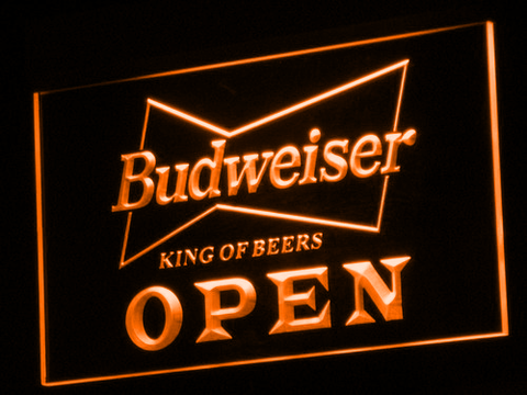 Budweiser Open LED Neon Sign - Orange - SafeSpecial