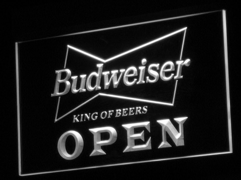 Budweiser Open LED Neon Sign - White - SafeSpecial