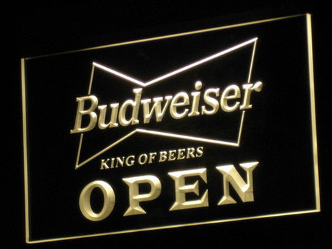 Budweiser Open LED Neon Sign - Yellow - SafeSpecial