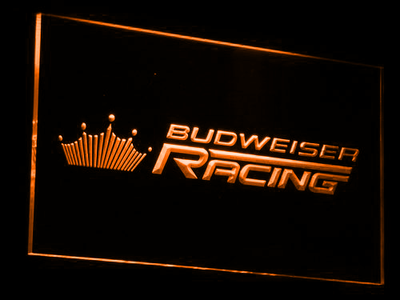 Budweiser Racing LED Neon Sign - Orange - SafeSpecial