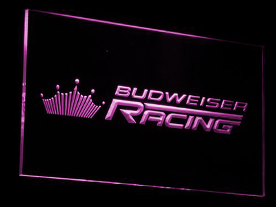 Budweiser Racing LED Neon Sign - Purple - SafeSpecial