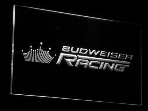 Image of Budweiser Racing LED Neon Sign - White - SafeSpecial