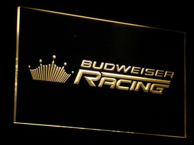 Budweiser Racing LED Neon Sign - Yellow - SafeSpecial
