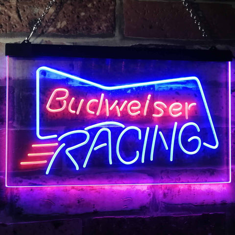 Budweiser Racing Neon-Like LED Sign - Dual Color - Blue and Red - SafeSpecial